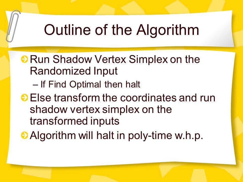 Outline of the Algorithm Run Shadow Vertex Simplex on the Randomized Input –If Find Optimal then halt Else transform the coordinates and run shadow ve