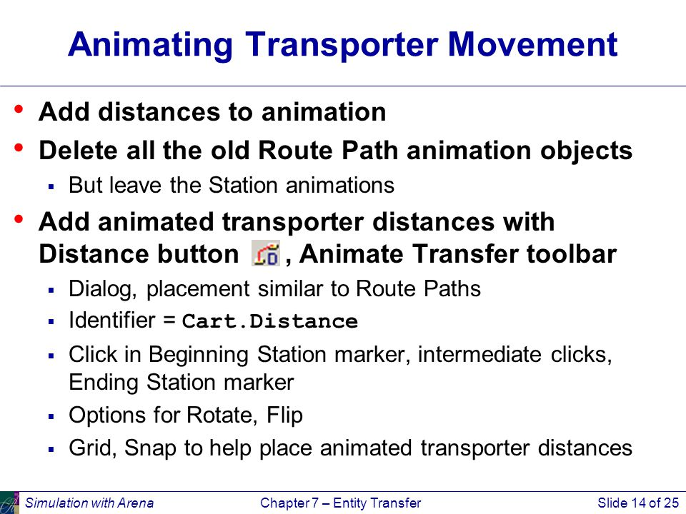 Simulation with ArenaChapter 7 – Entity TransferSlide 14 of 25 Animating Transporter Movement Add distances to animation Delete all the old Route Path animation objects  But leave the Station animations Add animated transporter distances with Distance button, Animate Transfer toolbar  Dialog, placement similar to Route Paths  Identifier = Cart.Distance  Click in Beginning Station marker, intermediate clicks, Ending Station marker  Options for Rotate, Flip  Grid, Snap to help place animated transporter distances