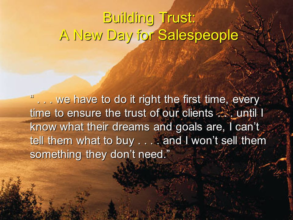 Building Trust: A New Day for Salespeople ...