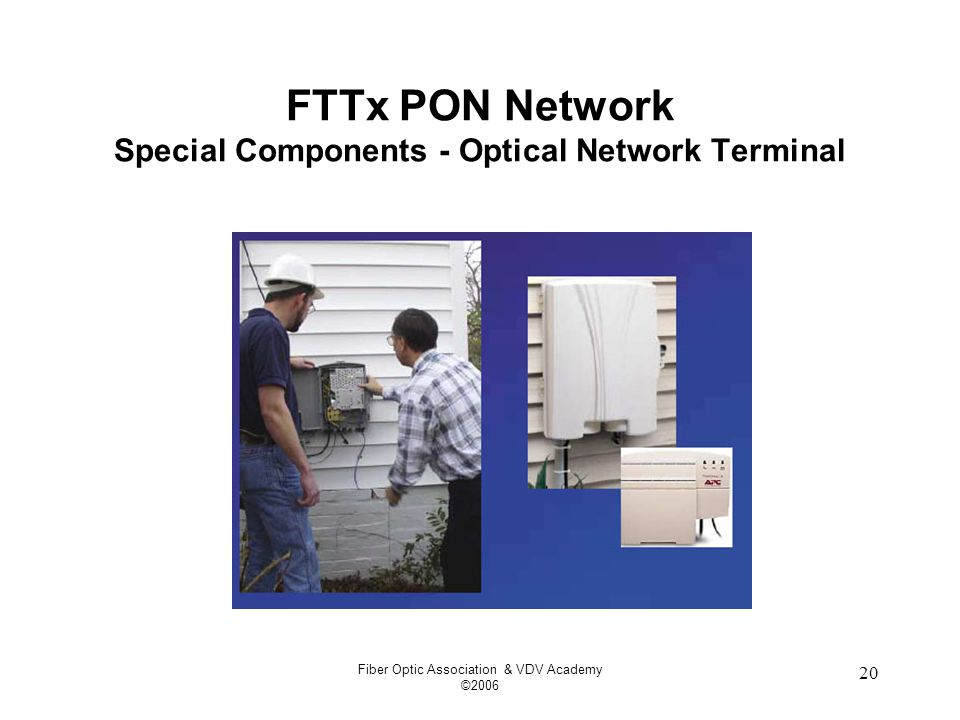 Fiber Optic Association & VDV Academy ©2006 20 FTTx PON Network Special Components - Optical Network Terminal
