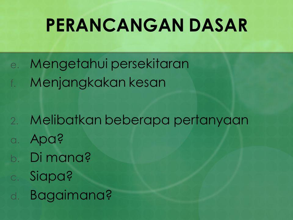 PERANCANGAN DASAR e. Mengetahui persekitaran f. Menjangkakan kesan 2. Melibatkan beberapa pertanyaan a. Apa? b. Di mana? c. Siapa? d. Bagaimana?