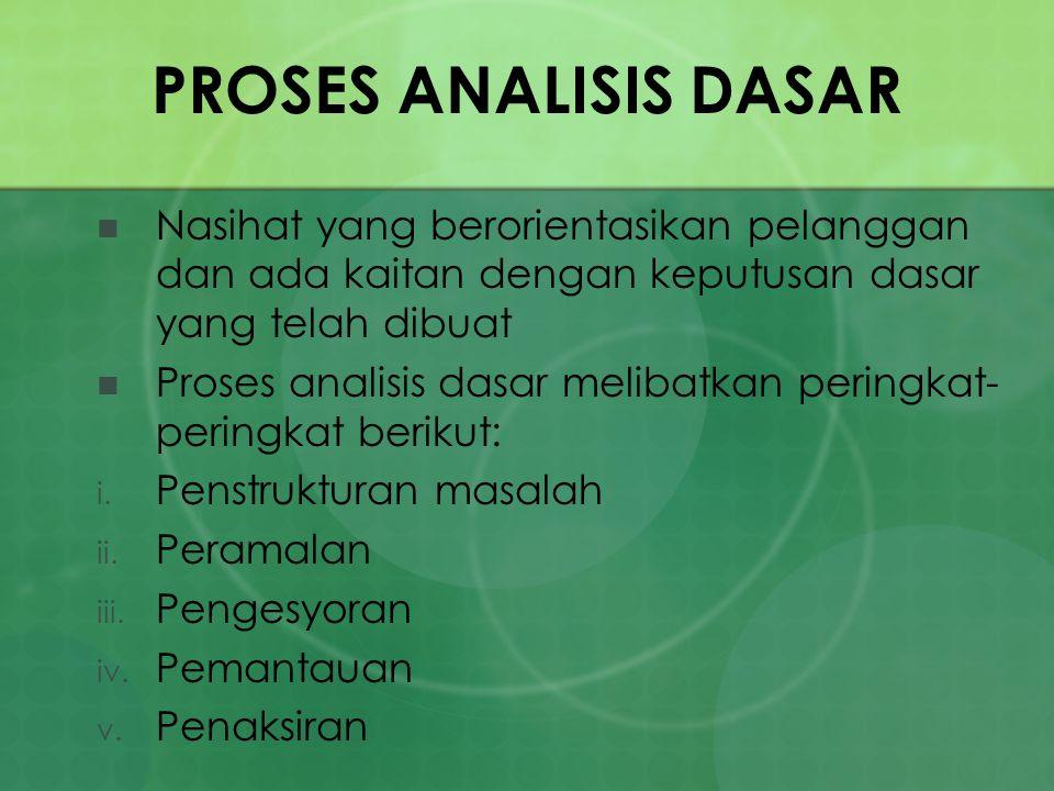 PROSES ANALISIS DASAR Nasihat yang berorientasikan pelanggan dan ada kaitan dengan keputusan dasar yang telah dibuat Proses analisis dasar melibatkan