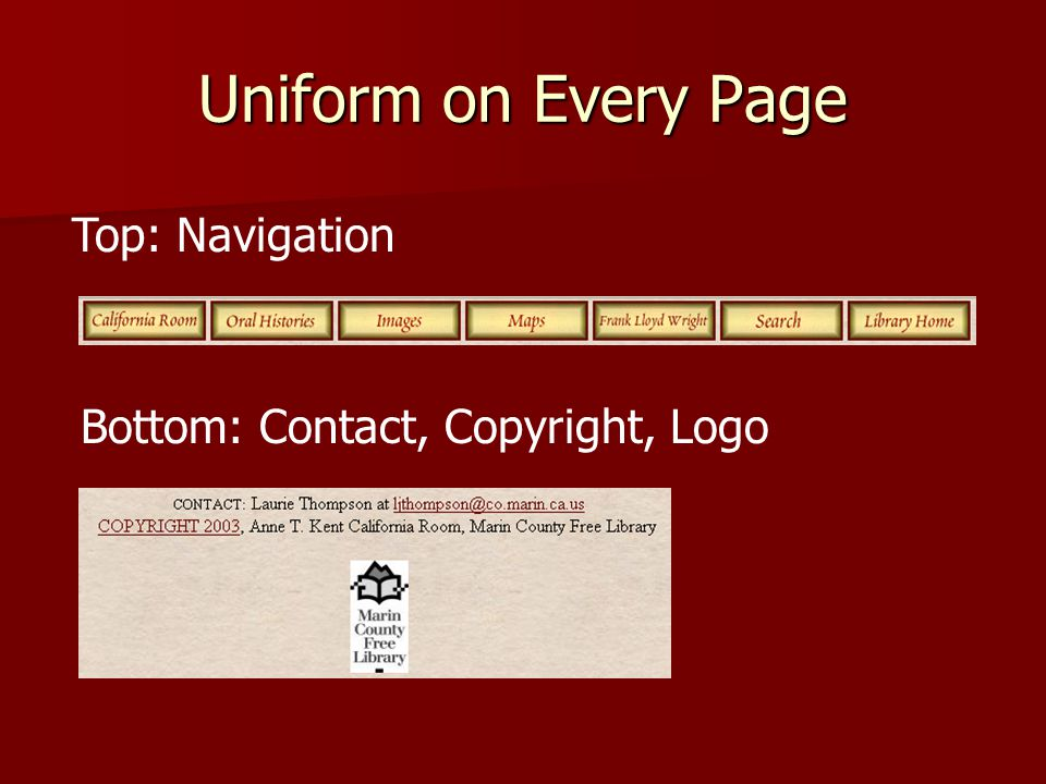 Uniform on Every Page Top: Navigation Bottom: Contact, Copyright, Logo