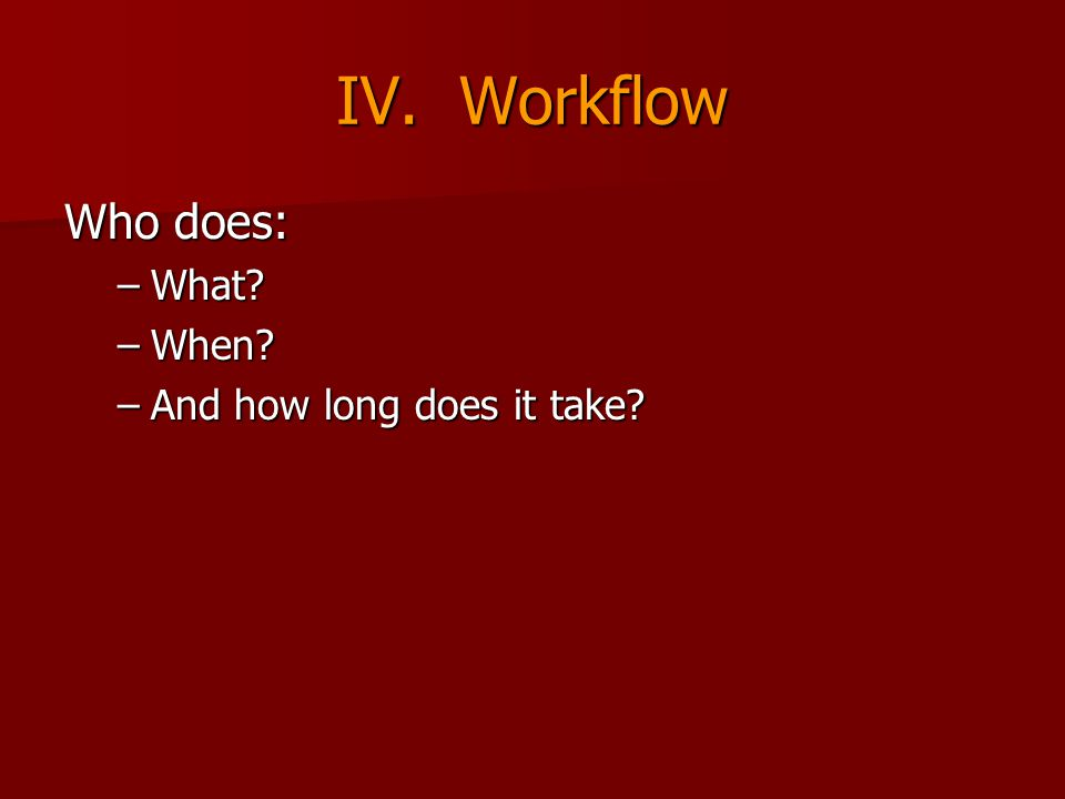 IV. Workflow Who does: –What? –When? –And how long does it take?