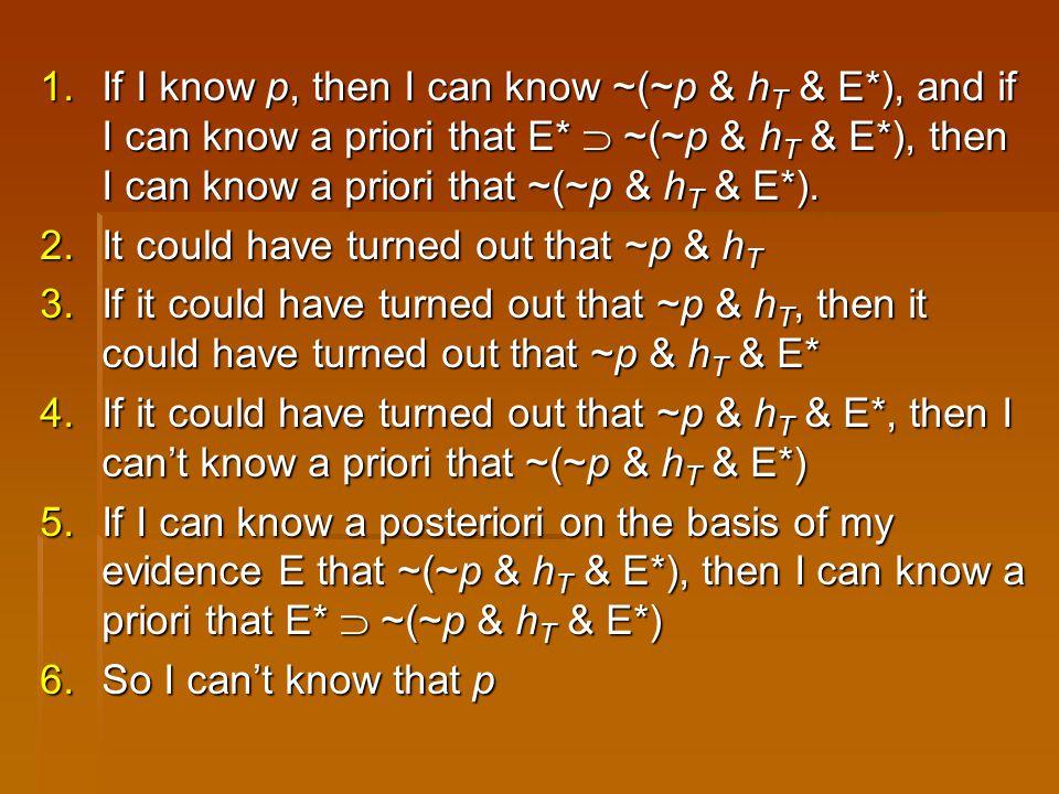 1.If I know p, then I can know ~(~p & h T & E*), and if I can know a priori that E*  ~(~p & h T & E*), then I can know a priori that ~(~p & h T & E*)