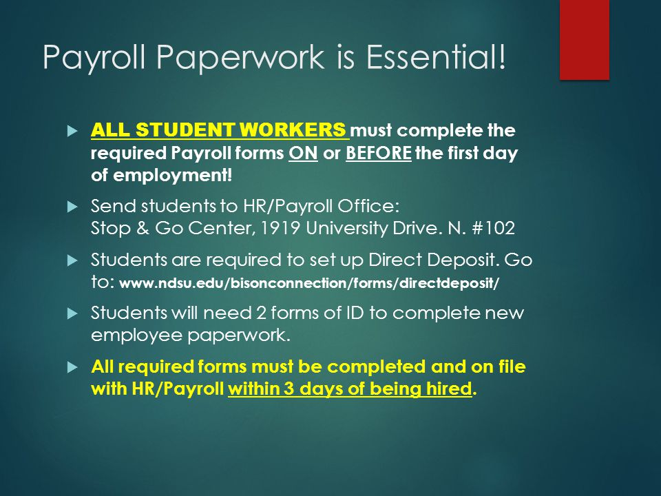 Payroll Paperwork is Essential!  ALL STUDENT WORKERS must complete the required Payroll forms ON or BEFORE the first day of employment!  Send studen