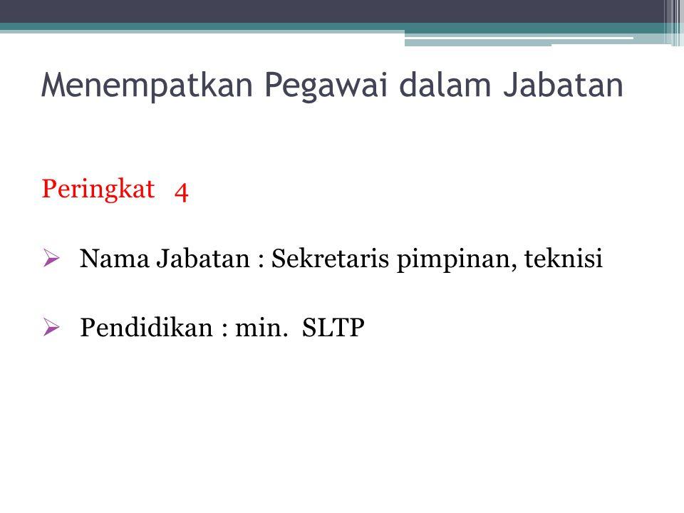 Menempatkan Pegawai dalam Jabatan Peringkat 4  Nama Jabatan : Sekretaris pimpinan, teknisi  Pendidikan : min.