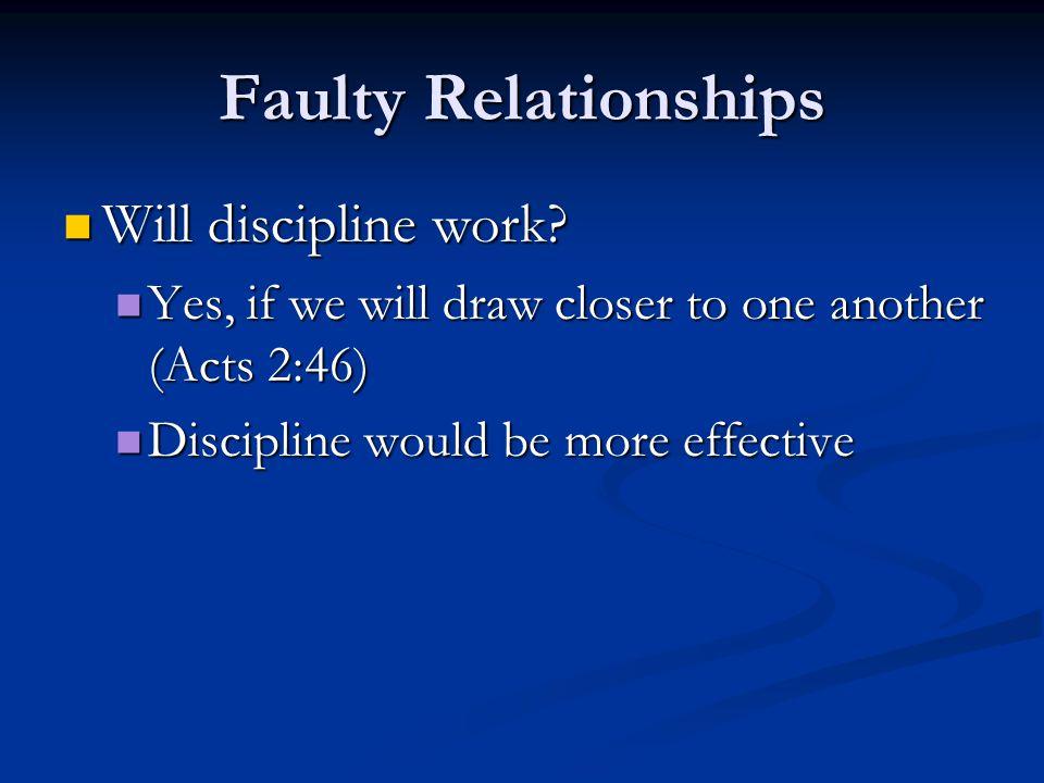 Faulty Relationships Will discipline work.Will discipline work.