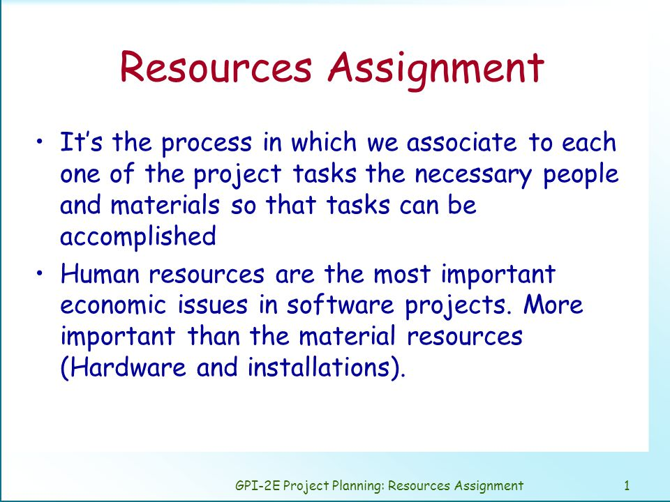 GPI-2E Project Planning: Resources Assignment2 Human Resources.