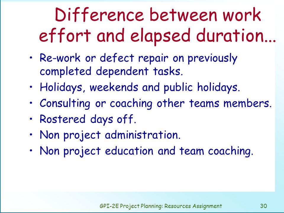 GPI-2E Project Planning: Resources Assignment30 Difference between work effort and elapsed duration...
