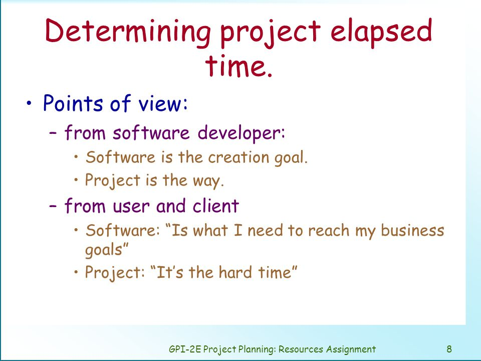 GPI-2E Project Planning: Resources Assignment8 Determining project elapsed time.