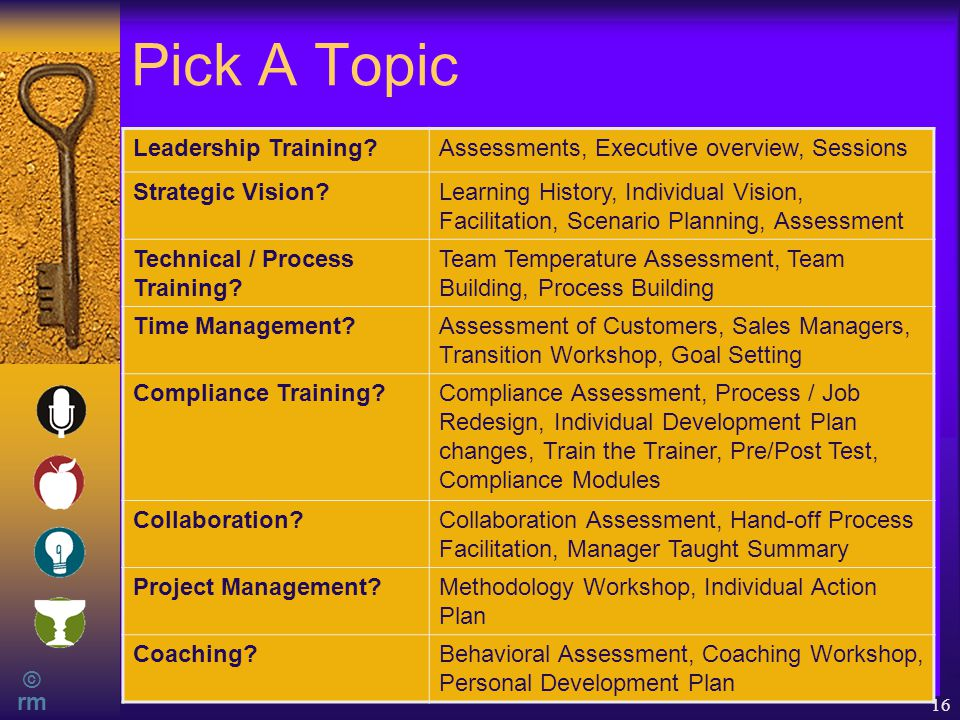 © rm 16 Pick A Topic Leadership Training?Assessments, Executive overview, Sessions Strategic Vision?Learning History, Individual Vision, Facilitation, Scenario Planning, Assessment Technical / Process Training.