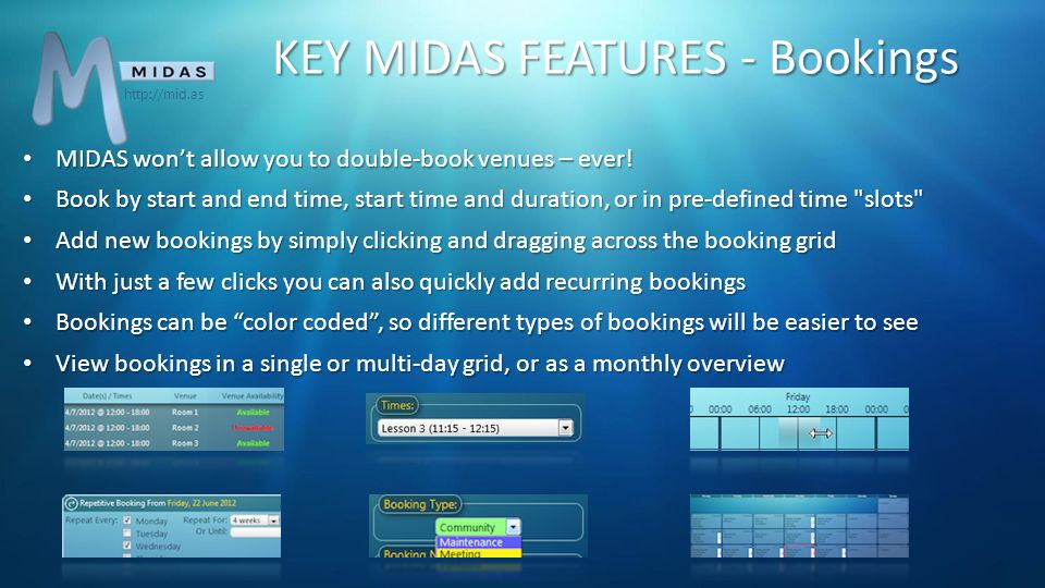 KEY MIDAS FEATURES - Bookings Equipment, Staffing, and Consumables can be assigned to your bookings, and MIDAS won't allow you to add more than you have.
