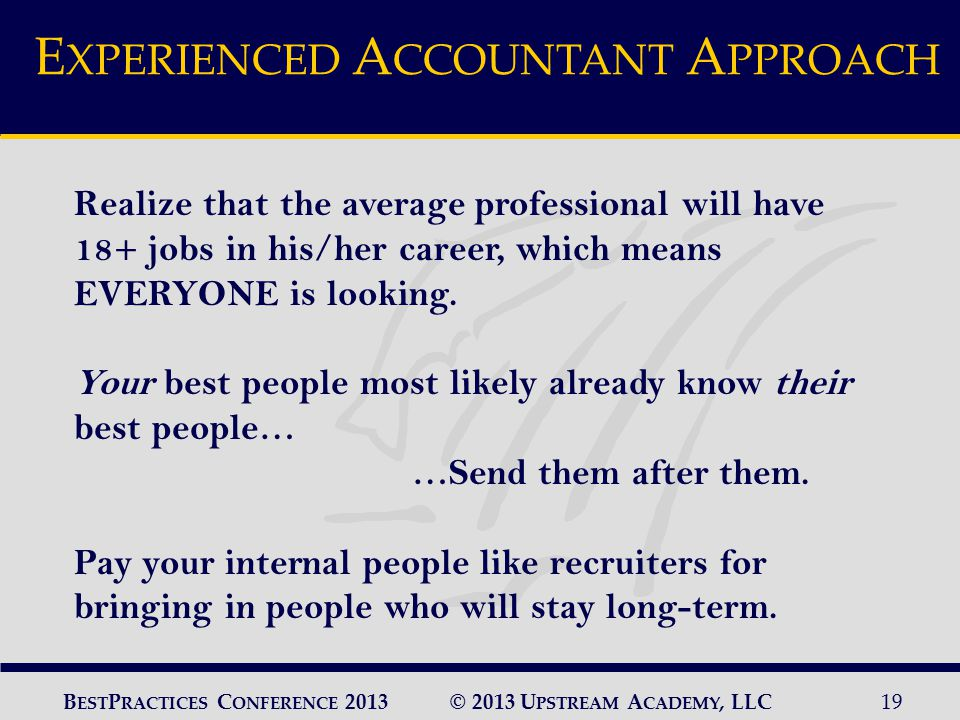© 2013 U PSTREAM A CADEMY, LLC19 B EST P RACTICES C ONFERENCE 2013 Realize that the average professional will have 18+ jobs in his/her career, which means EVERYONE is looking.