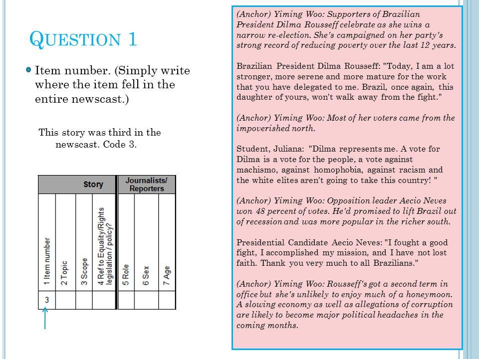 Q UESTION 1 Item number.