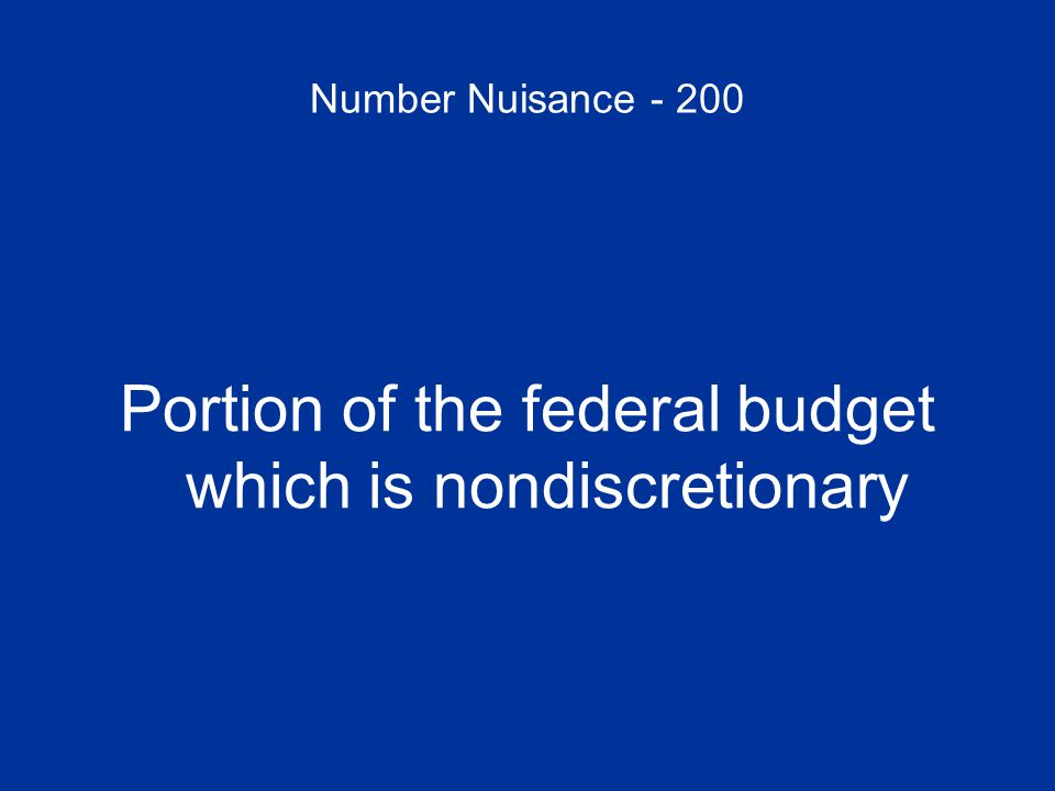 Number Nuisance - 200 Portion of the federal budget which is nondiscretionary