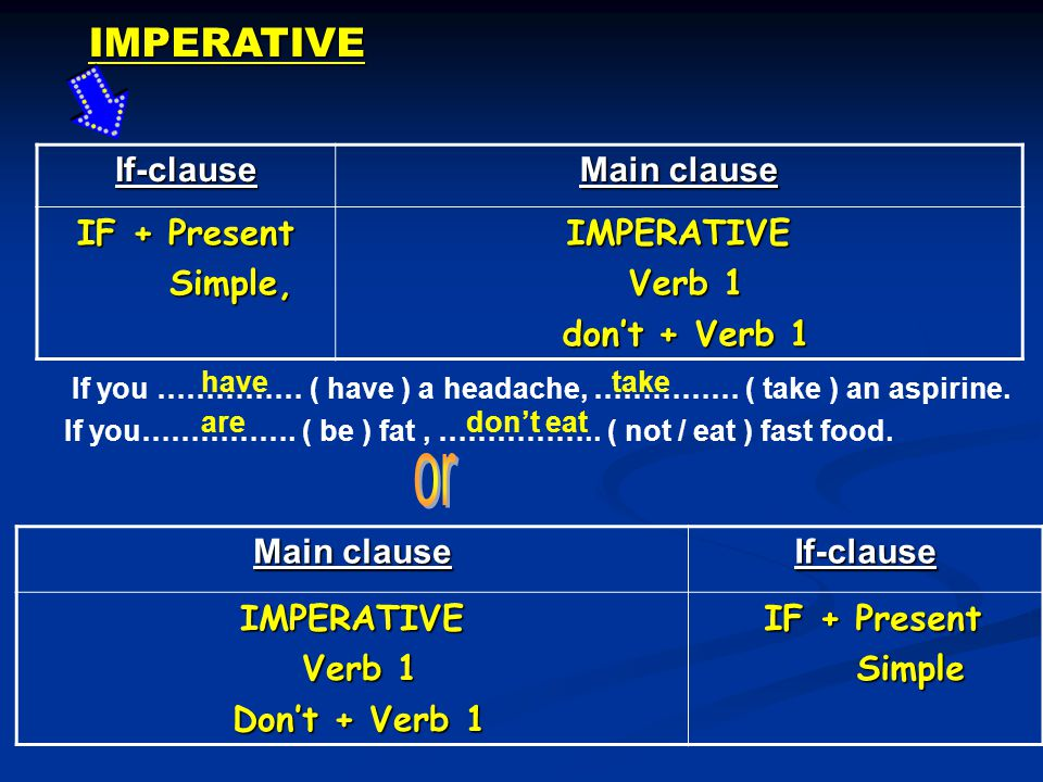IMPERATIVEIf-clause Main clause IF + Present Simple, Simple,IMPERATIVE Verb 1 Verb 1 don't + Verb 1 don't + Verb 1 Main clause If-clauseIMPERATIVE Verb 1 Verb 1 Don't + Verb 1 Don't + Verb 1 IF + Present IF + Present Simple Simple If you …………… ( have ) a headache, …………… ( take ) an aspirine.