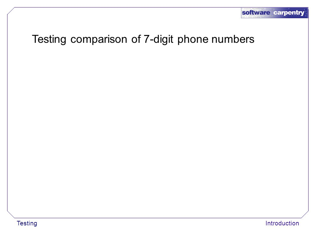 TestingIntroduction Testing comparison of 7-digit phone numbers