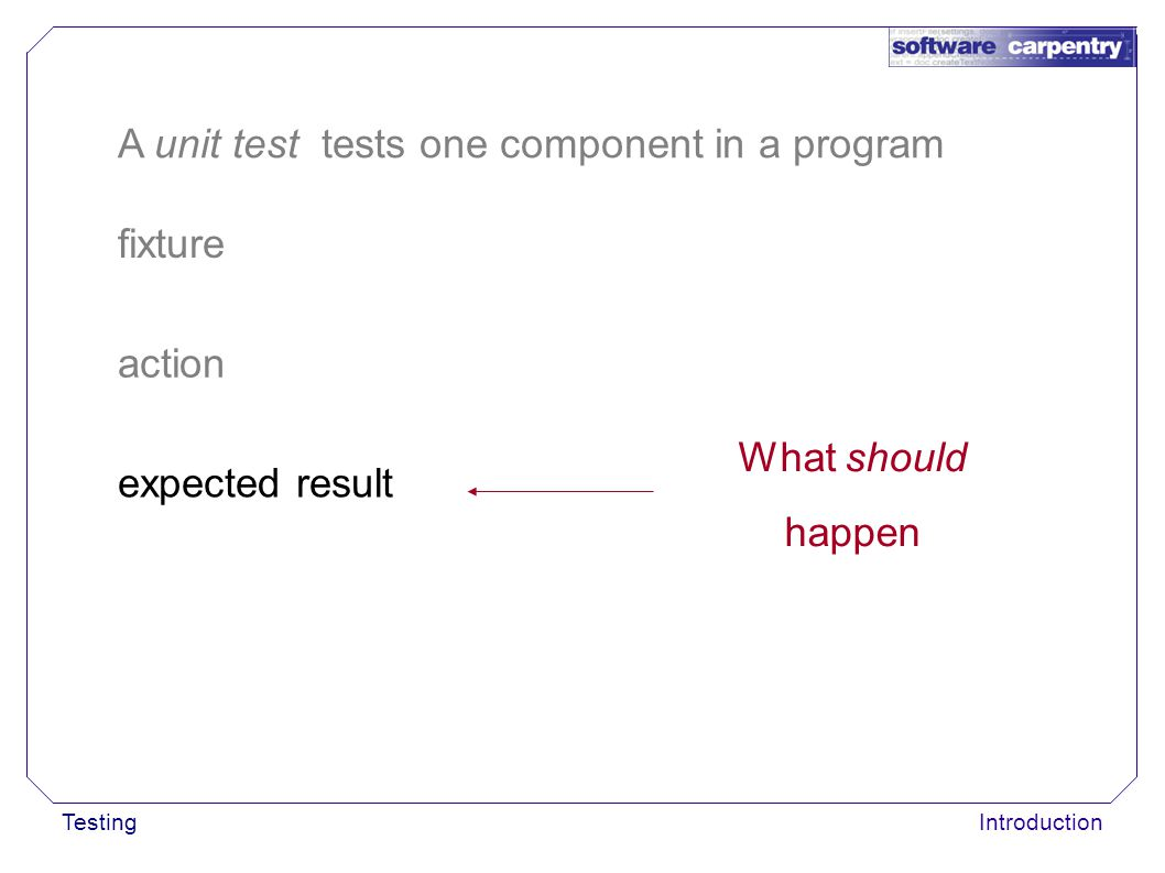 TestingIntroduction fixture action A unit test tests one component in a program expected result What should happen