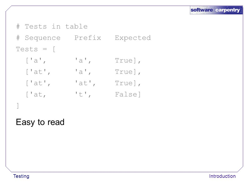 TestingIntroduction Easy to read # Tests in table # Sequence Prefix Expected Tests = [ ['a', 'a', True], ['at', 'a', True], ['at', 'at', True], ['at,