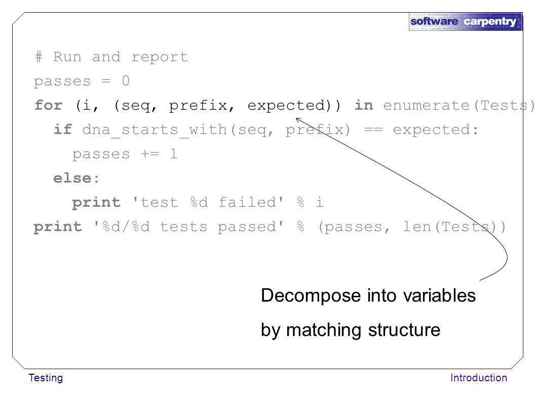 TestingIntroduction Decompose into variables by matching structure # Run and report passes = 0 for (i, (seq, prefix, expected)) in enumerate(Tests): i