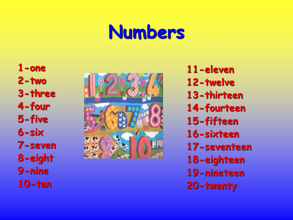 Numbers 1-one2-two3-three4-four5-five6-six7-seven8-eight9-nine10-ten 11-eleven12-twelve13-thirteen14-fourteen15-fifteen16-sixteen17-seventeen18-eighteen19-nineteen20-twenty