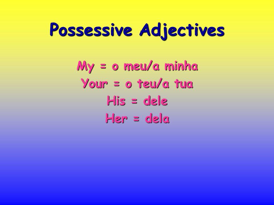 Possessive Adjectives My = o meu/a minha Your = o teu/a tua His = dele Her = dela