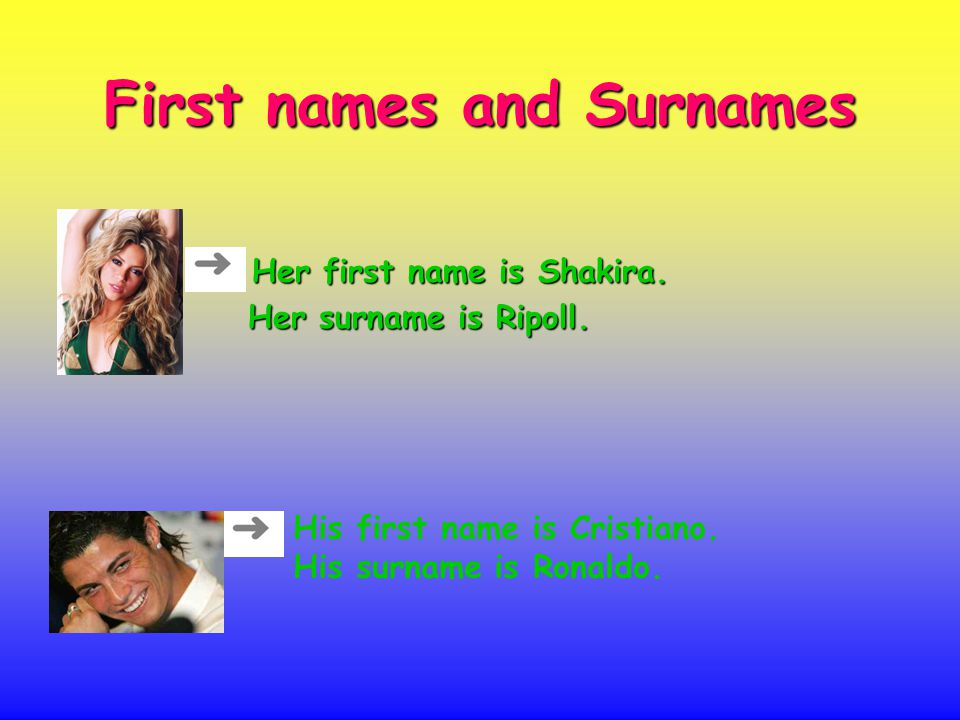 First names and Surnames Her first name is Shakira.