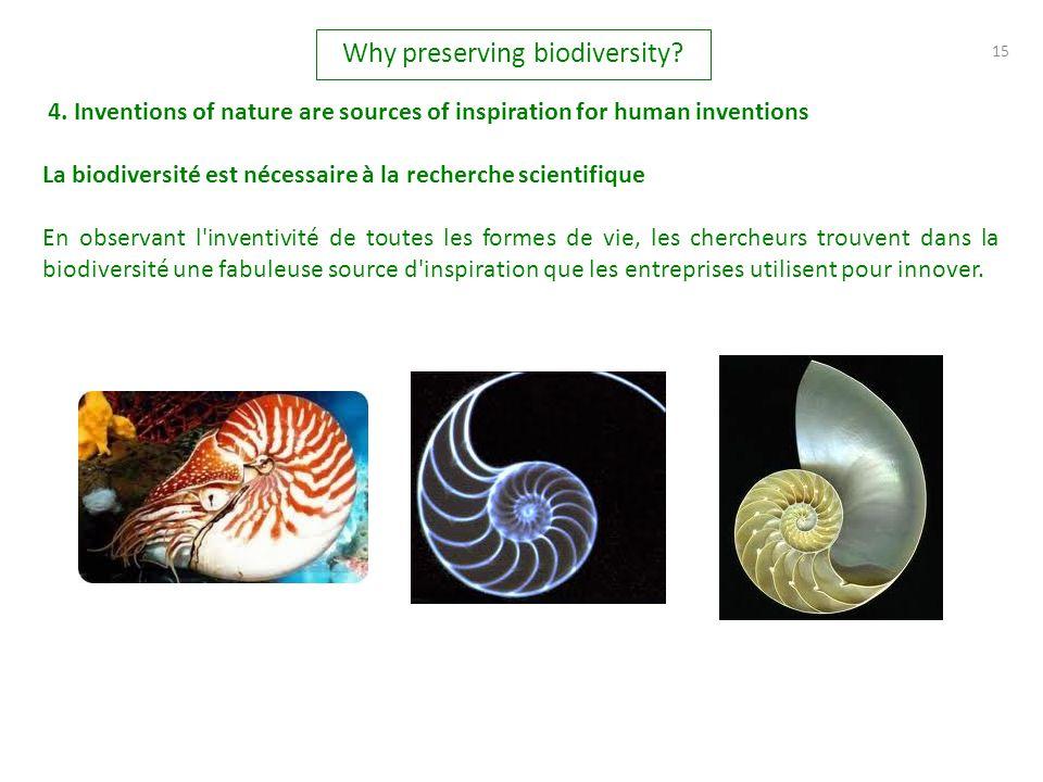 15 La biodiversité est nécessaire à la recherche scientifique En observant l'inventivité de toutes les formes de vie, les chercheurs trouvent dans la