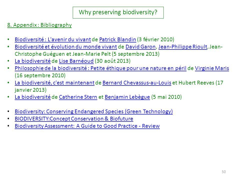 50 8. Appendix : Bibliography Biodiversité : L'avenir du vivant de Patrick Blandin (3 février 2010) Biodiversité : L'avenir du vivantPatrick Blandin B