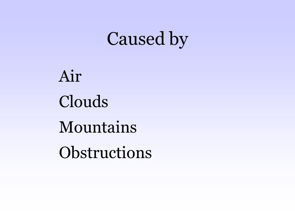Caused by Air Clouds Mountains Obstructions