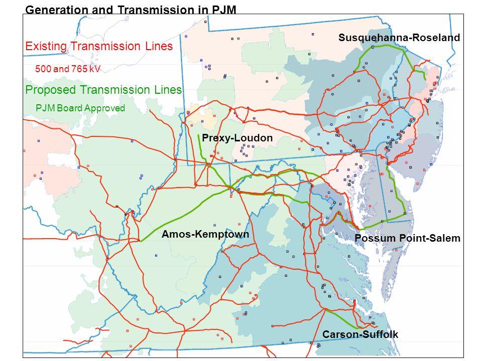 PJM Transmission Projects PJM OkLocationStatesCostDate Jun 07Susquehanna-RoselandPA-NJ$0.9 B2012 Jun 07Amos-KemptownWV-MD$1.8 B2011 Oct 07Possum Point-SalemVA-MD-DE-NJ$1.1 B.
