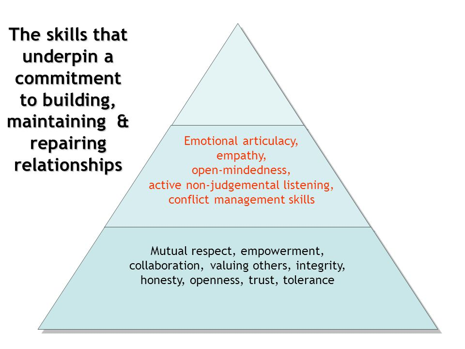 The skills that underpin a commitment to building, maintaining & repairing relationships Emotional articulacy, empathy, open-mindedness, active non-ju