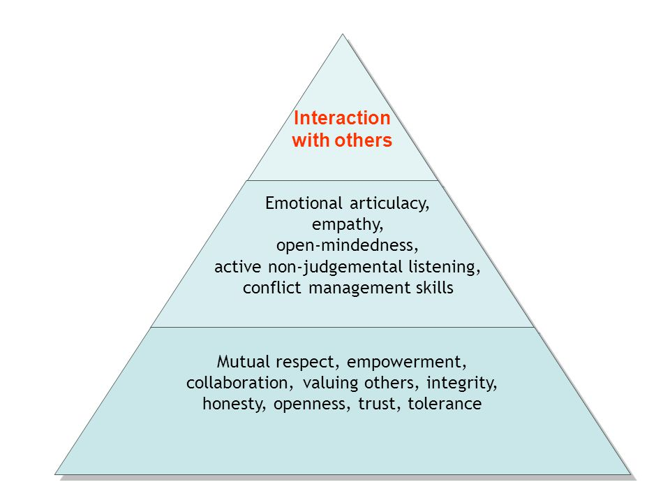 Interaction with others Emotional articulacy, empathy, open-mindedness, active non-judgemental listening, conflict management skills Mutual respect, e