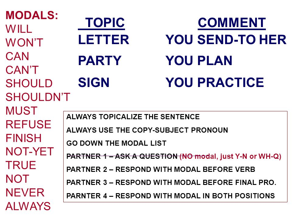 MODALS: WILL WON'T CAN CAN'T SHOULD SHOULDN'T MUST REFUSE FINISH NOT-YET TRUE NOT NEVER ALWAYS TOPIC COMMENT LETTERYOU SEND-TO HER PARTYYOU PLAN SIGNY