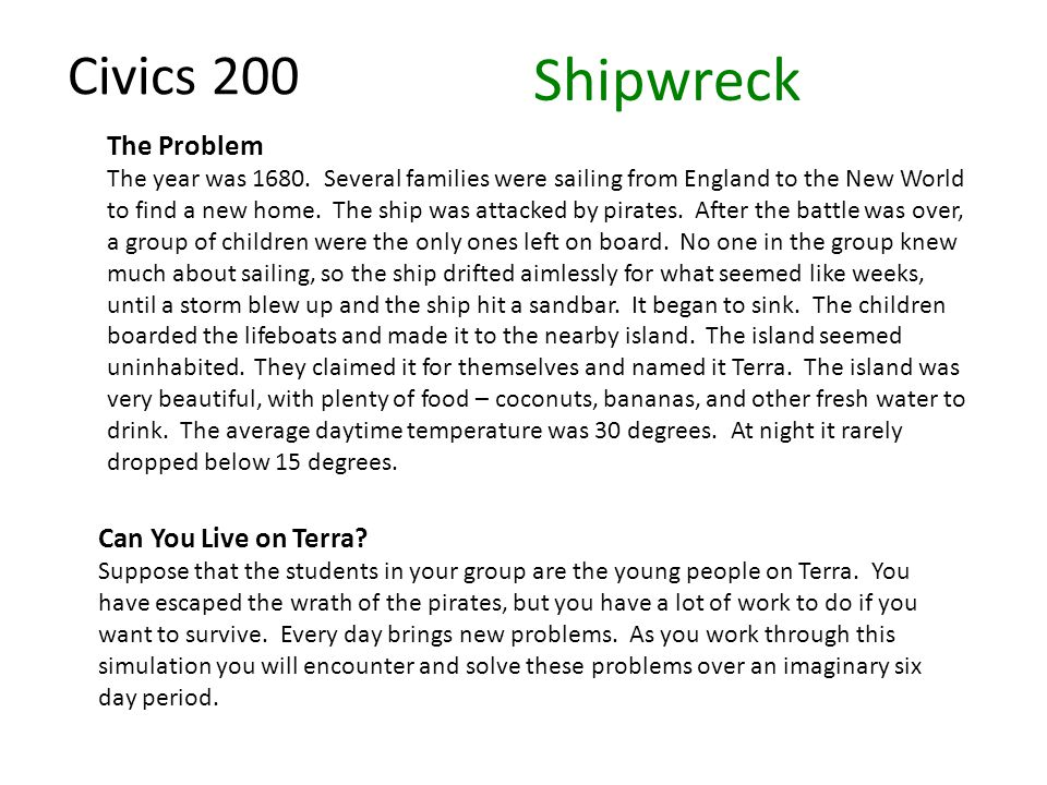Civics 200 Shipwreck The Problem The year was 1680.
