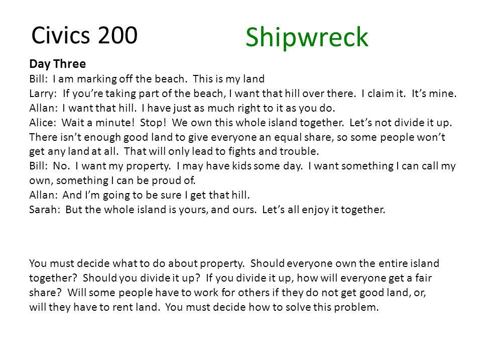 Civics 200 Day Three Bill: I am marking off the beach.