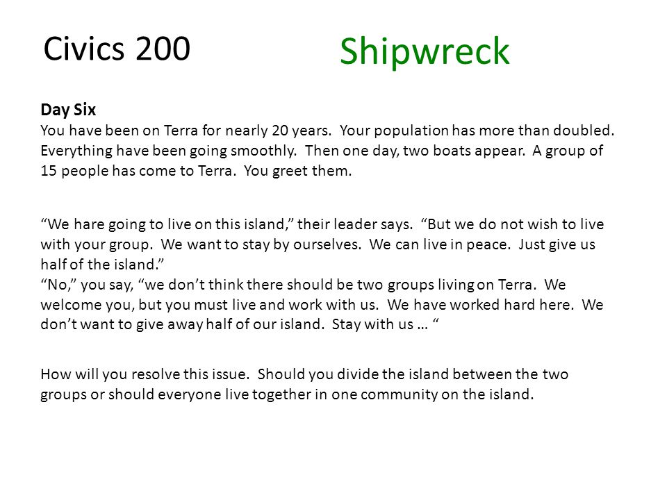 Civics 200 Day Six You have been on Terra for nearly 20 years. Your population has more than doubled. Everything have been going smoothly. Then one da