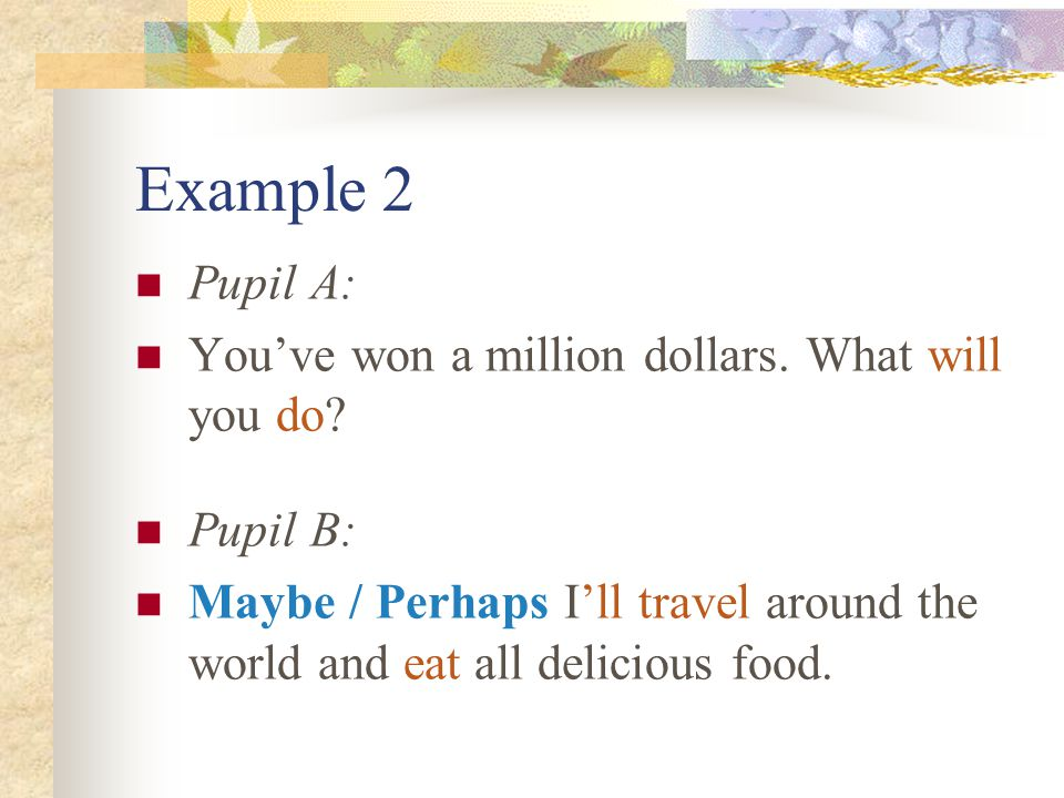 Example 2 Pupil A: You've won a million dollars. What will you do.