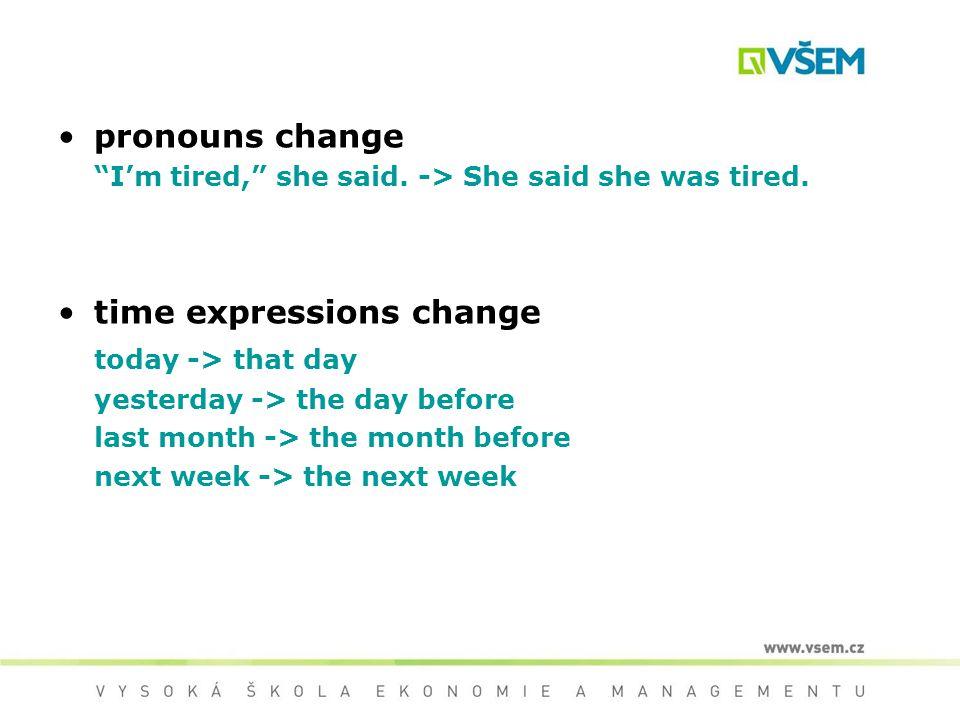 pronouns change I'm tired, she said. -> She said she was tired.