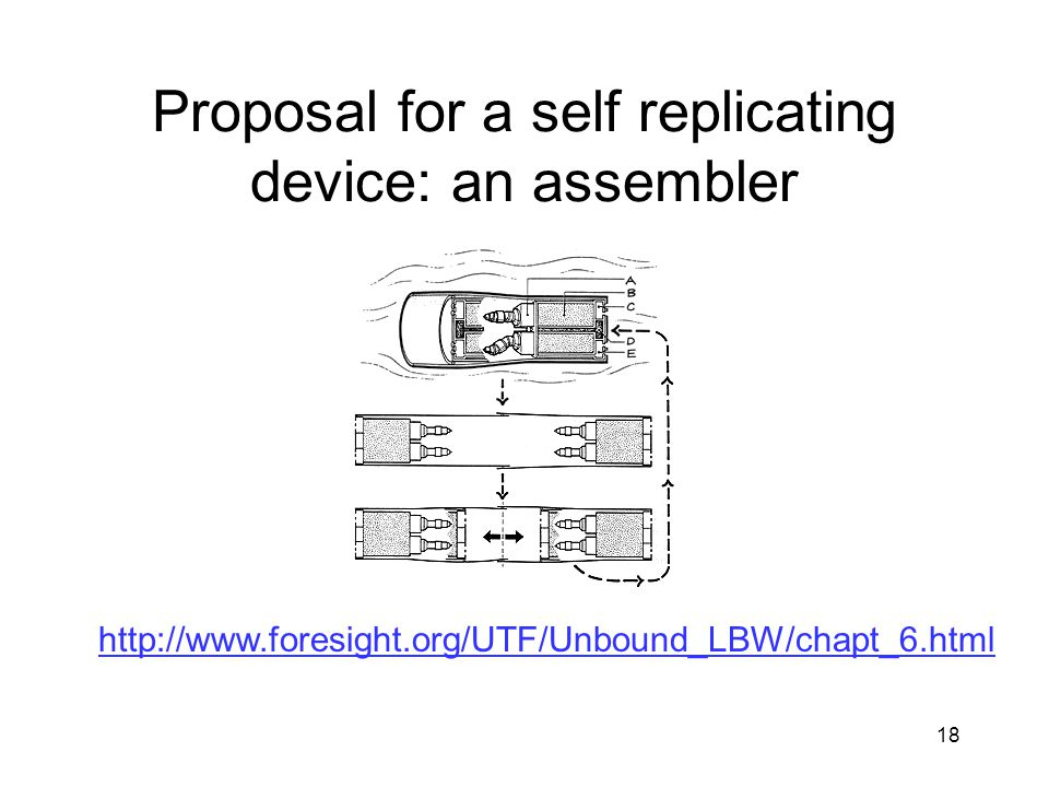 18 Proposal for a self replicating device: an assembler http://www.foresight.org/UTF/Unbound_LBW/chapt_6.html