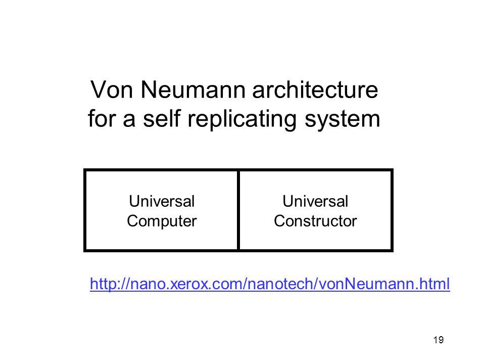 19 Universal Computer Universal Constructor http://nano.xerox.com/nanotech/vonNeumann.html Von Neumann architecture for a self replicating system