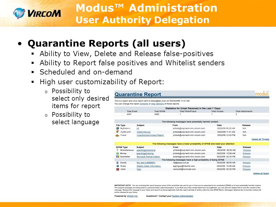 Modus™ Administration User Authority Delegation Quarantine Reports (all users)  Ability to View, Delete and Release false-positives  Ability to Repo