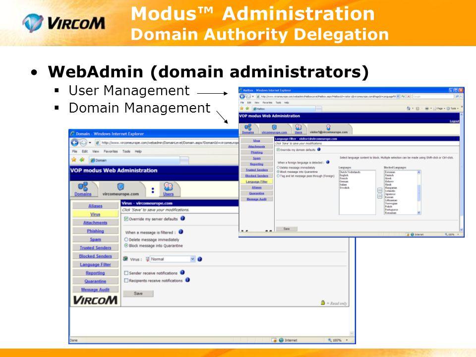 Modus™ Administration Domain Authority Delegation WebAdmin (domain administrators)  User Management  Domain Management