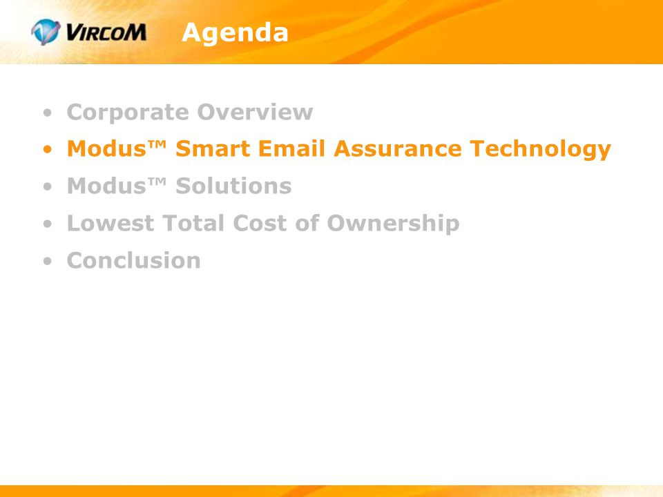 Agenda Corporate Overview Modus™ Smart Email Assurance Technology Modus™ Solutions Lowest Total Cost of Ownership Conclusion
