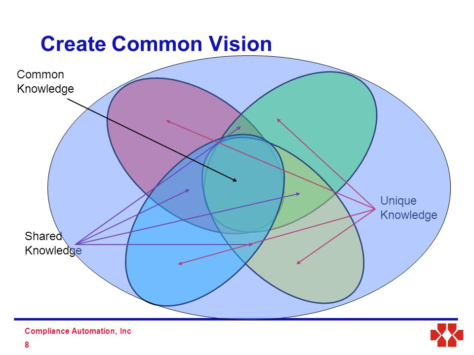 S D Compliance Automation, Inc 8 Create Common Vision Common Knowledge Shared Knowledge Unique Knowledge