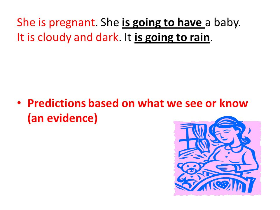She is pregnant. She is going to have a baby. It is cloudy and dark. It is going to rain. Predictions based on what we see or know (an evidence)