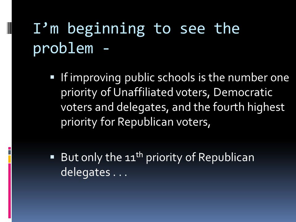 I'm beginning to see the problem -  If improving public schools is the number one priority of Unaffiliated voters, Democratic voters and delegates, a