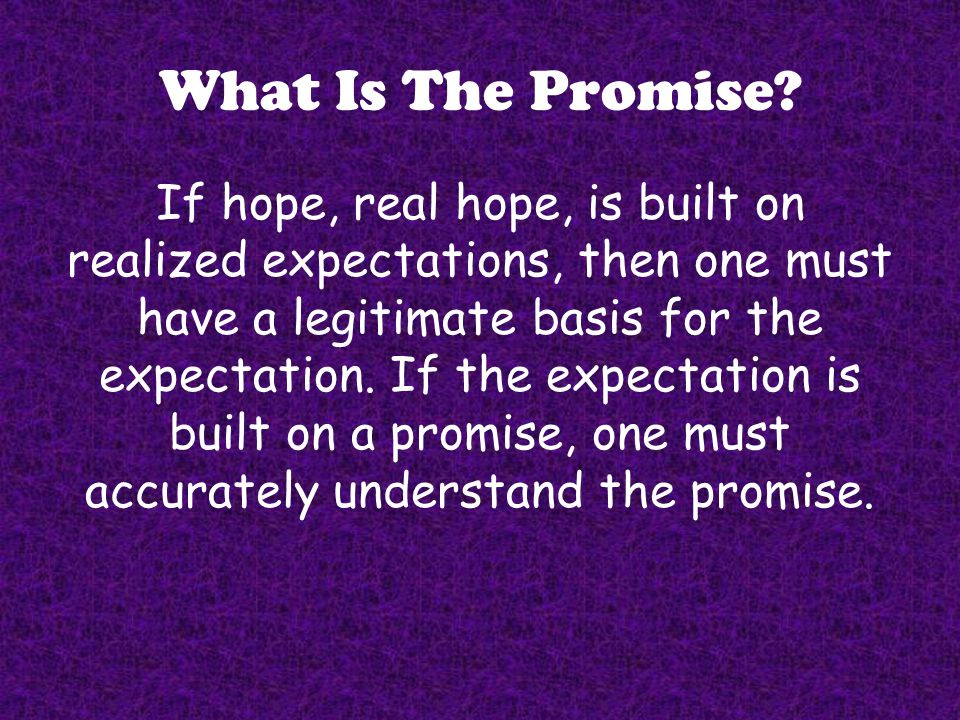 What Is The Promise.