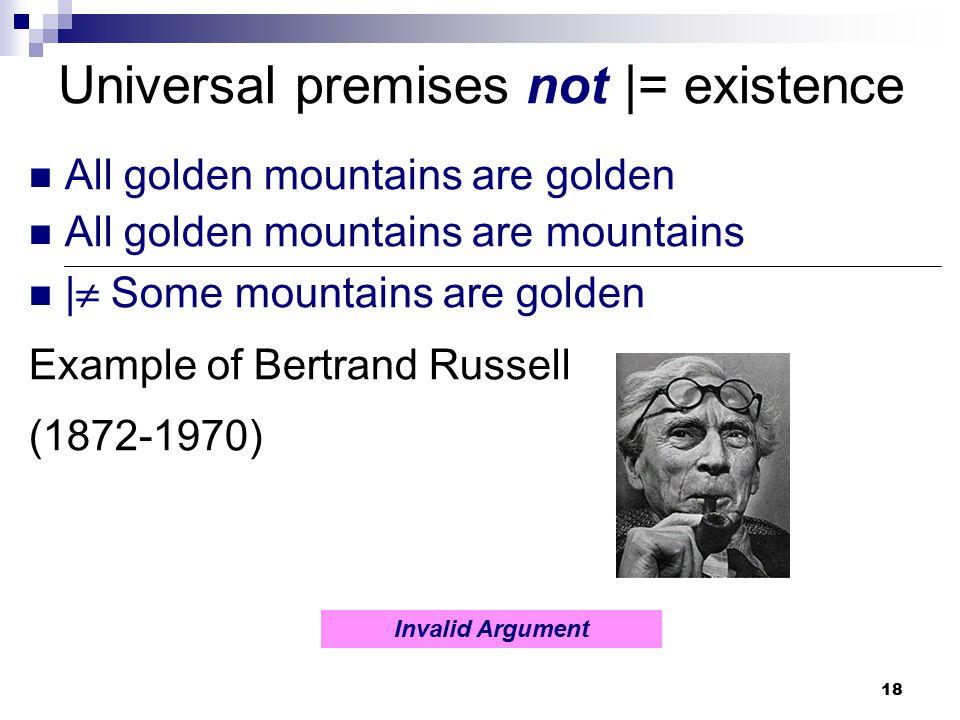 18 Universal premises not |= existence All golden mountains are golden All golden mountains are mountains |  Some mountains are golden Example of Ber
